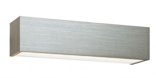 LED Brushed silver anodised & frosted glass Wall Light 46395 by Endon